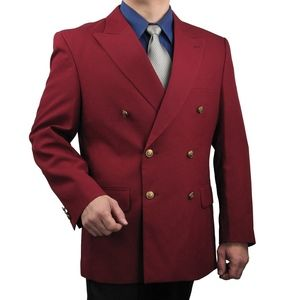 Mens Classic Fit Double-Breasted Blazer-Burgundy